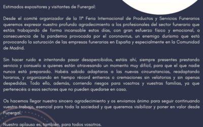 Comunicado del comité organizador de Funergal a los profesionales del sector funerario con motivo de la pandemia provocada por el COVID-19